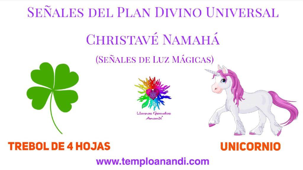 señal de luz mágica trebol de 4 hojas y unicornio